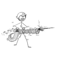 Cartoon of soldier shooting from rotary machine vector