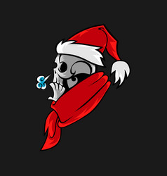 Cartoon skull in santa hat vector