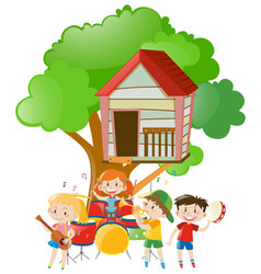 Children playing music under the tree vector