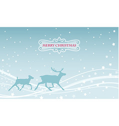 christmas greeting card deer family silhouette on vector image