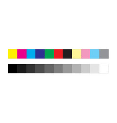 cmyk press marks color and greyscale bar isolated vector image