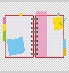 color open notepad on rings with blank sheets and vector image