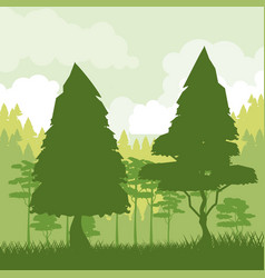 colorful background of green landscape of forest vector image