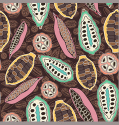 colorful stylized cacao pods seamless vector image