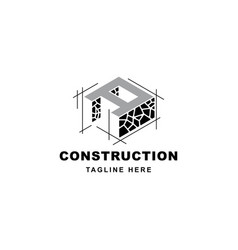 construction logo with letter a shape symbol vector image
