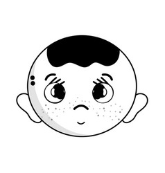 contour cute baby boy head with hairstyle design vector image