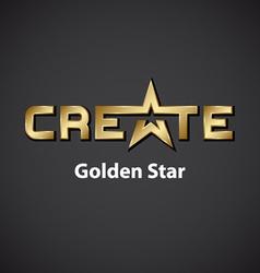 create golden star inscription icon vector image