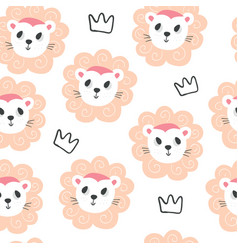 cute baby lions and crowns seamless pattern vector image