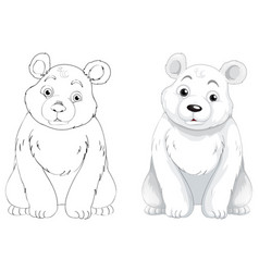 Doodle animal outline of polar bear vector