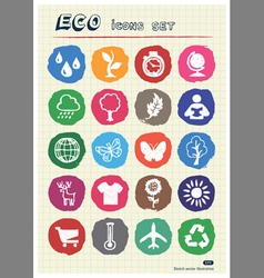 Eco elements and environment web icons set vector