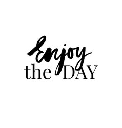 enjoy every moment - hand drawn lettering phrase vector image