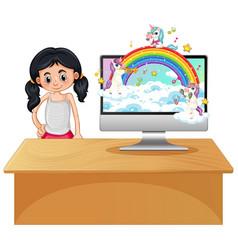 fantasy unicorn on computer desktop vector image