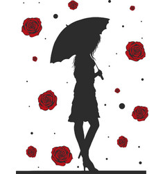 fashion stylish woman with umbrella fashion girl vector image