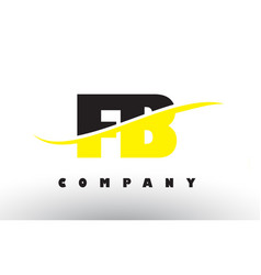 Fb f b black and yellow letter logo with swoosh vector