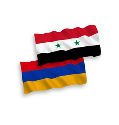 Flags armenia and syria on a white background vector