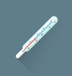 flat red glass thermometer icon vector image