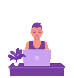 freelancer working with laptop young girl vector image