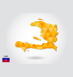geometric polygonal style map of haiti low poly vector image