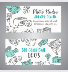 gift certificate for photo studio or photographer vector image