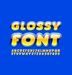 glossy font bright yellow and blue alphabet vector image