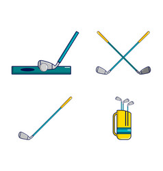 golf stick icon set cartoon style vector image