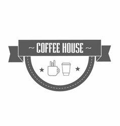 Gray coffee logo template with stylized cup and vector
