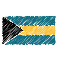 hand drawn national flag of bahamas isolated on a vector image