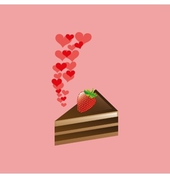 Heart cartoon cake sliced chocolate and strawberry vector