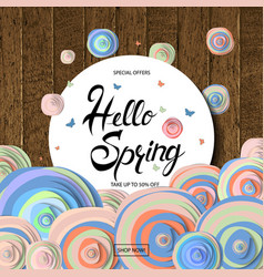 hello spring card design vector image