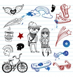 Hipsters doodles vector