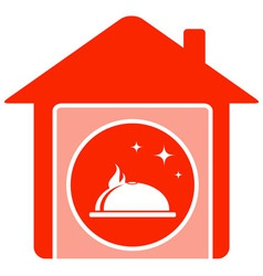 home food symbol with house and dish vector image