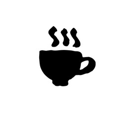hot coffee grunge icon ink brush vector image