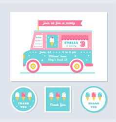 Icecream truck kids party invitation vector
