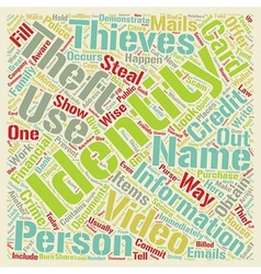 Identity theft video text background wordcloud vector