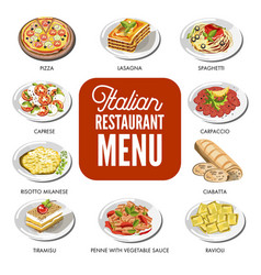 italian food cusine dishes pizza pasta meat and vector image