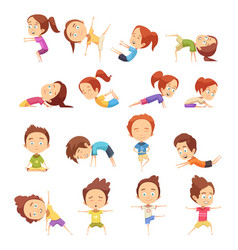 Kids yoga decorative icons set vector