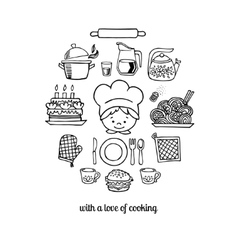 Kitchen tools and cook sketch icons vector