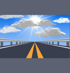 Landscape road to blue sky in day time vector