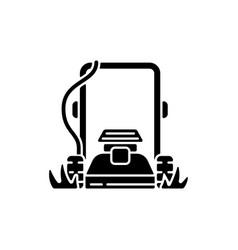 lawn mowing black glyph icon vector image