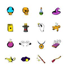 Magic comics icons set cartoon vector