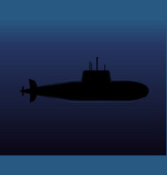 Military submarine diving in dark ocean vector