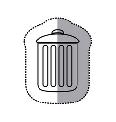 Monochrome contour sticker of trash container icon vector