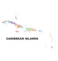 Mosaic caribbean islands map of gear elements vector