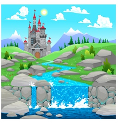 Mountain landscape with river and castle vector