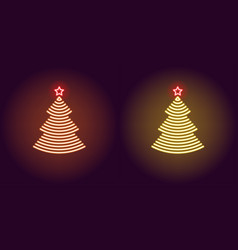 neon christmas tree glowing xmas tree vector image