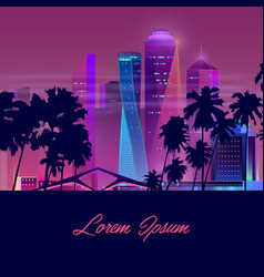 Night city with palms background template vector