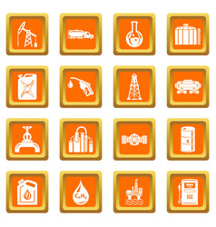 oil industry icons set orange square vector image