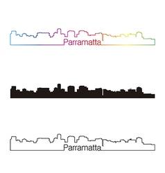 Parramatta skyline linear style with rainbow vector
