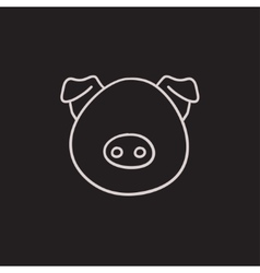 Pig head sketch icon vector image