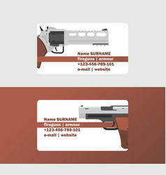 pistols business card western gun cowboys vector image